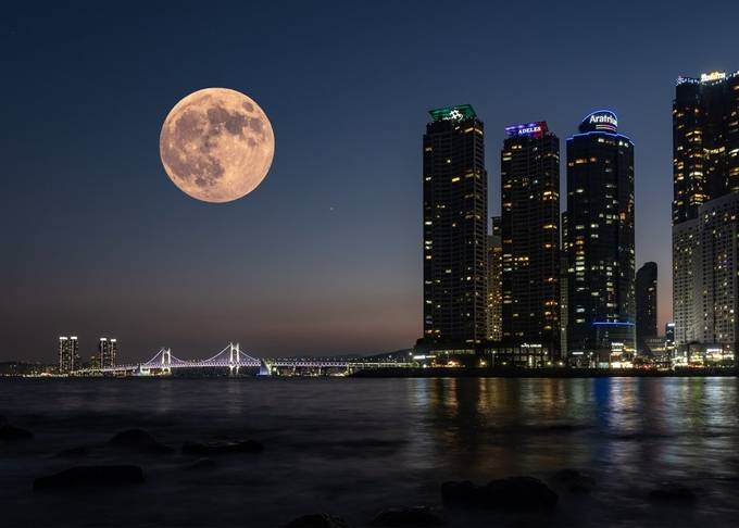 Busan Moon by georgebellon - Night Wonders Photo Contest