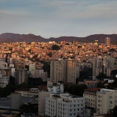 Setting sun on the favela.