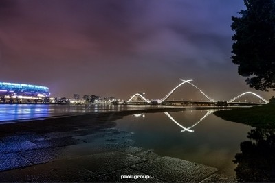 Matagarup bridge reflections on the Swan river