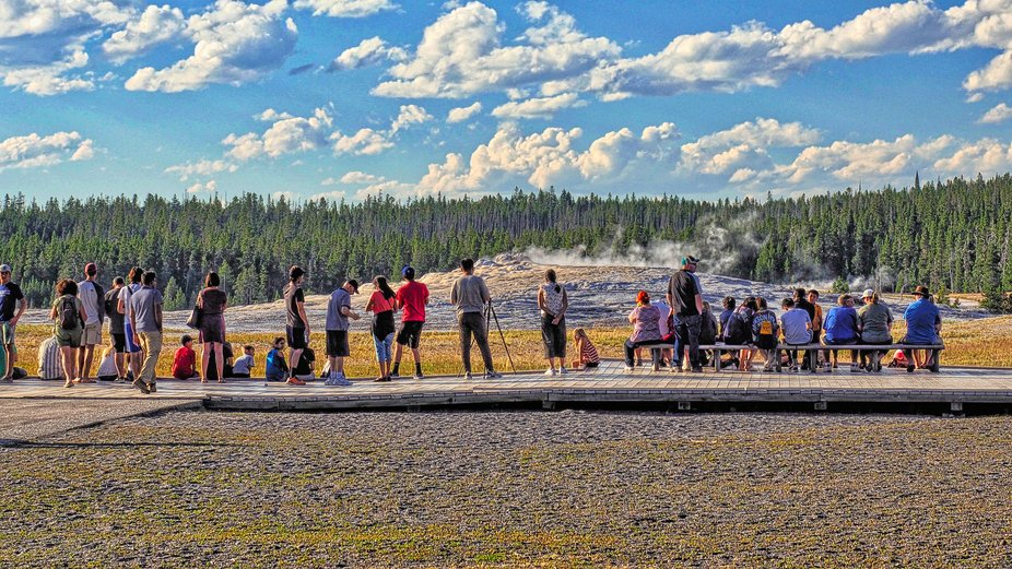 Waiting for the geyser to blow at Yellowstone Park.