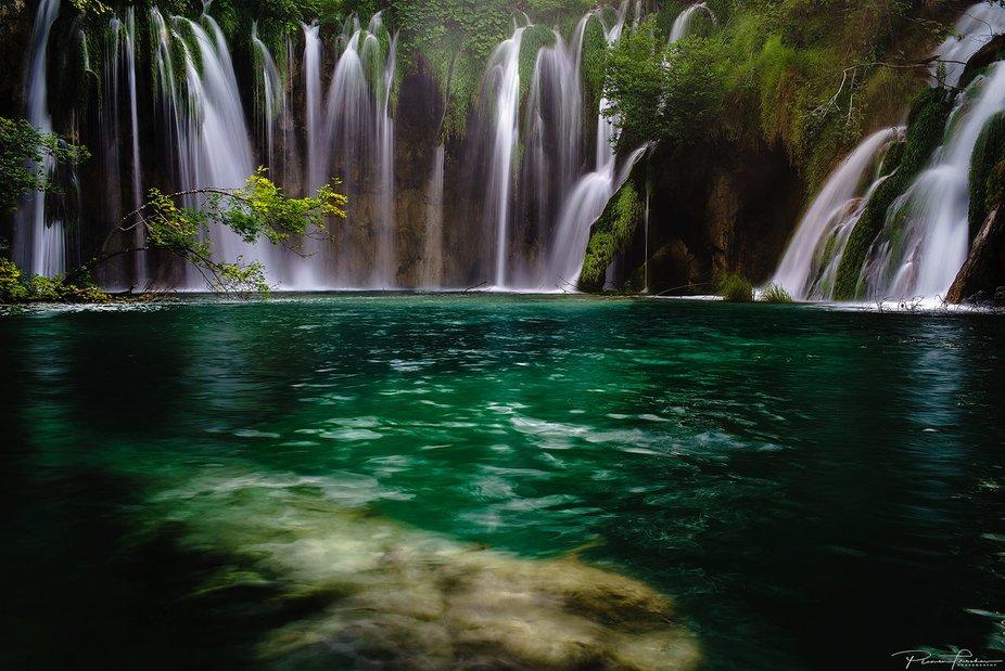 Politics lakes with waterfalls in Croatia.