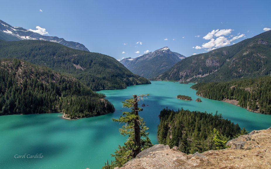 This is the actual color of Lake Diablo.  I did not change it.  Spectacular sight!