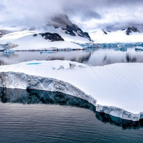 An iceberg taken in calm waters in the Antarctic Peninsular