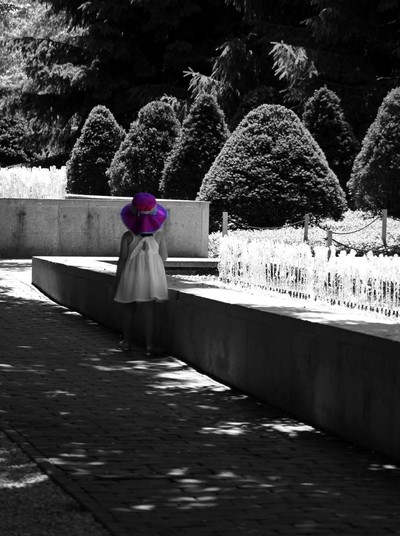 Little Girl in Magenta Hat Black and White Selective Color