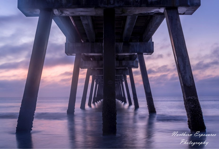 Jacksonville beach pier blue hour long exposure