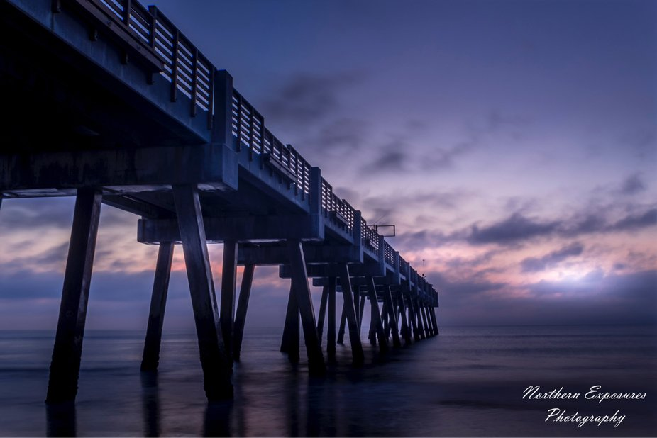 Jacksonville beach pier long exposure blue hour