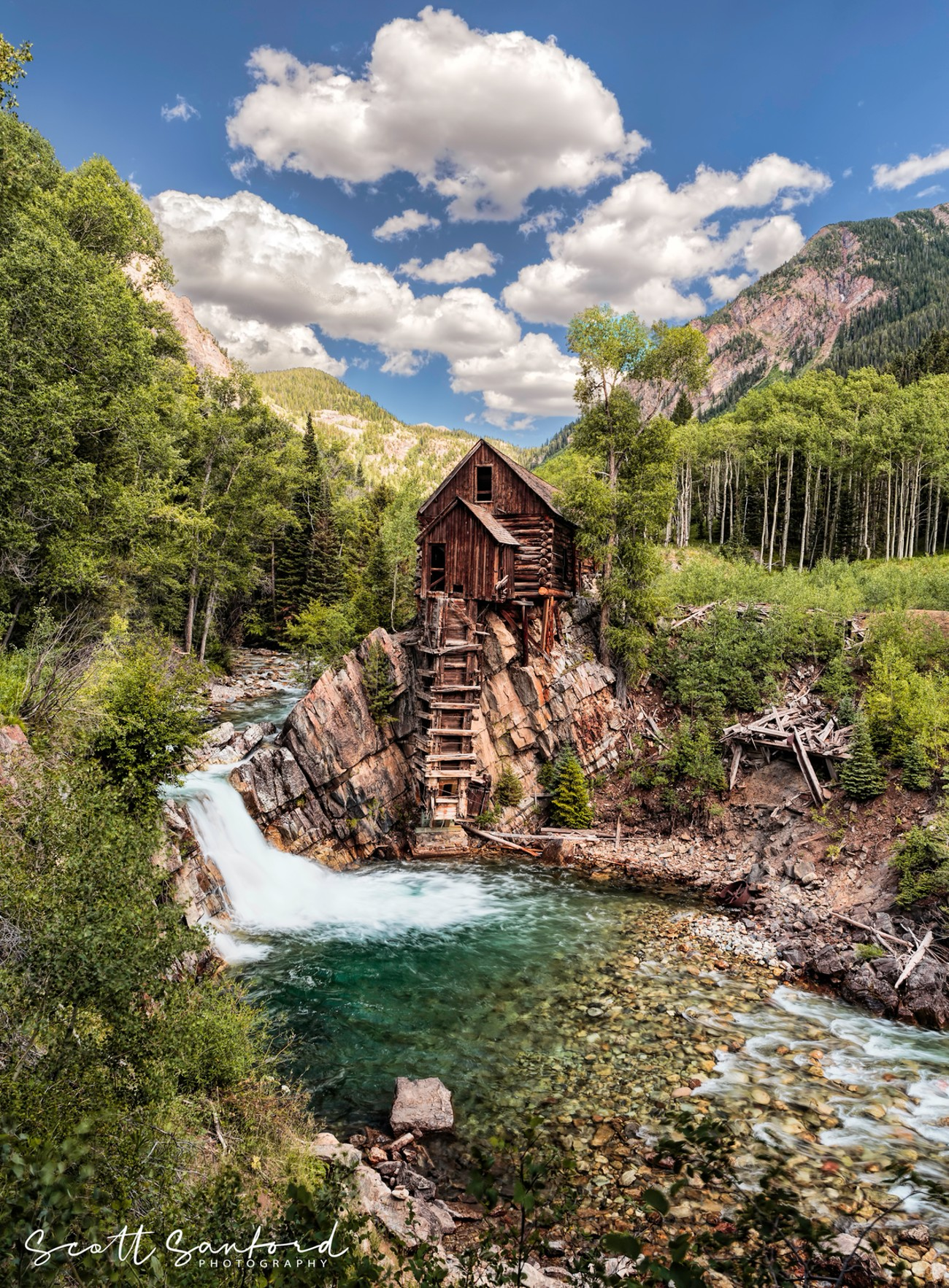 The Lost Horse Mill at Crystal, Colorado. This building is actually the power building. It housed a water powered air compressor that powered the stamp mill that sat to the right of this building.
