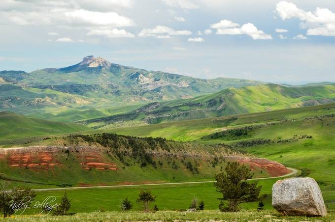 The red rocks definitely compliment the green grass in this photo.