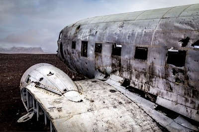 1973 Navy DC-3 wreckage located on the south coast of Iceland.