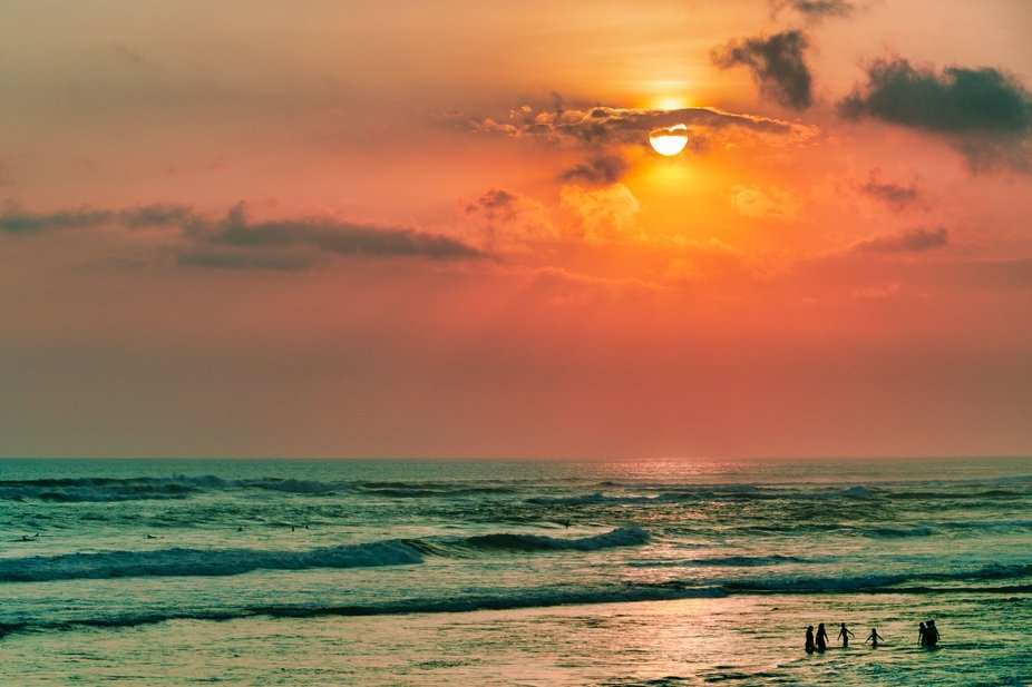 Beautiful sunset on the bali beach of Berawa