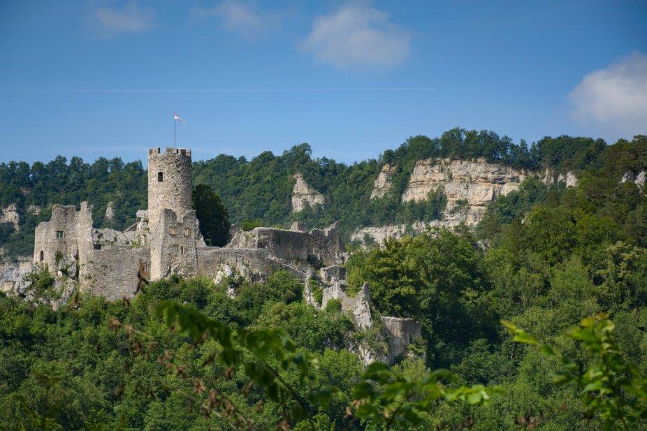 The Neu Falkenstein (New Falkenstein) castle high above the Balsthal village in the Swiss Jura mo...