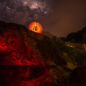 Light painting at The Grotto with the Milky Way in the background