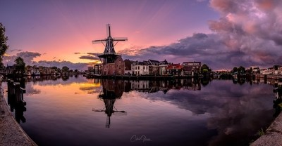 Sunrise between the storm, panorama in Haarlem the Netherlands.
