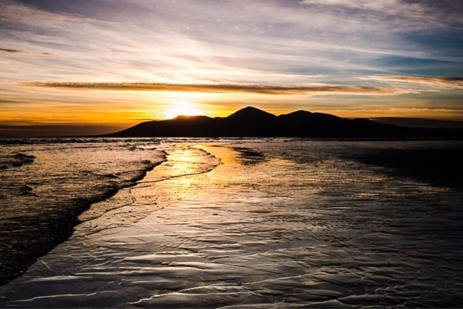 The Mourne Moutains in Northern Ireland taken from tyrella beach