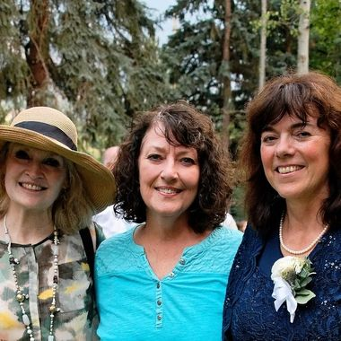Mother of the bride and two former roommates reunited at the wedding reception.