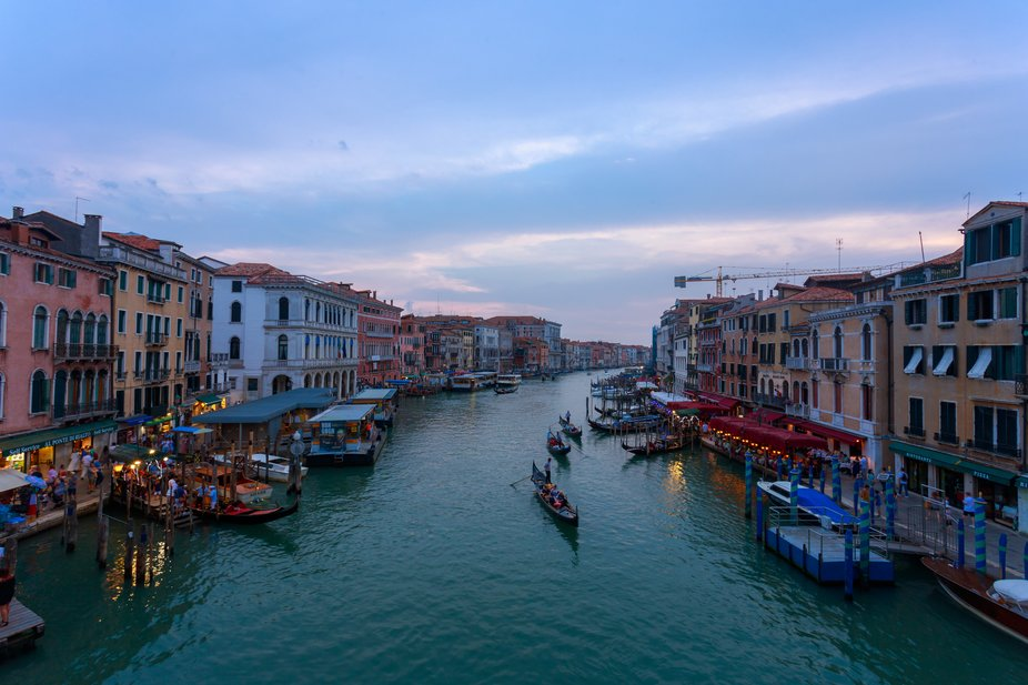 The iconic Canal Grande in iconic city of Venice, photo capture during Sunset from the Rialto Bri...
