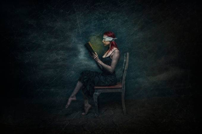 Blind Reader by lujeanburger - Fantasy In Color Photo Contest