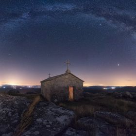 Night in the San Bartolo's church in the northwest of spain
