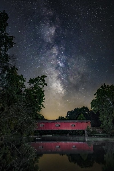 Milky Way Over Mill Creek - Cataract Covered Bridge, Indiana