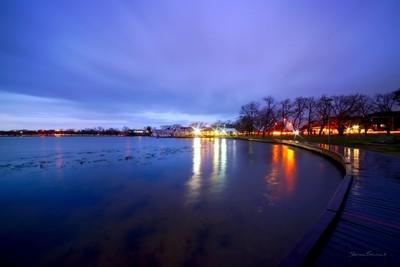 Lake Wendouree making light of an approaching storm