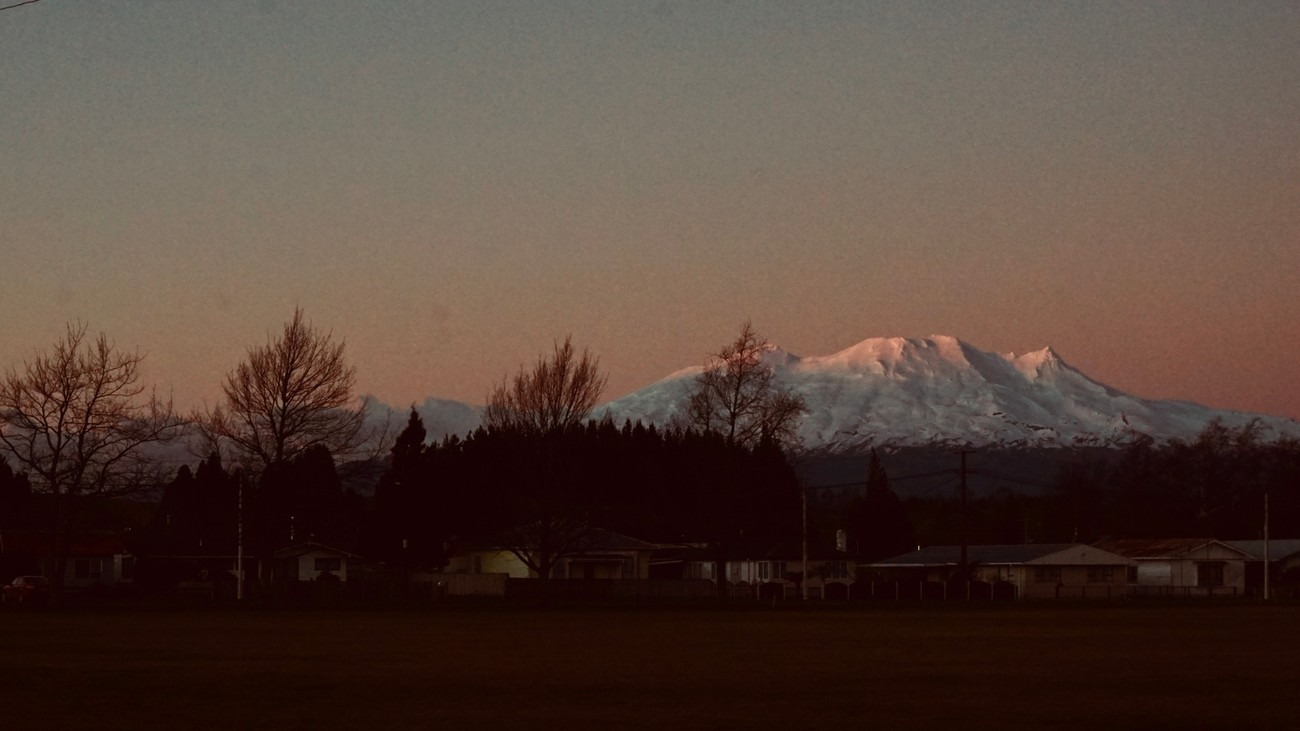 The final sun of the day lights to top of Mt Ruapehu, at the end of a clear winters day.