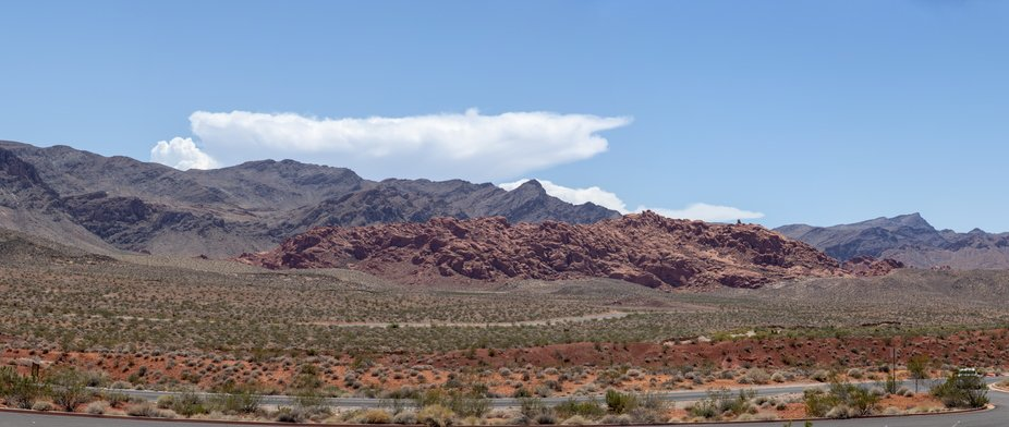 During a family trip we went to the Valley of Fire. This mountain was in front of the information...