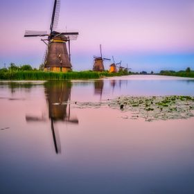 Kinderdijk is the most famous group of polder mills and is part of the World Heritage List.