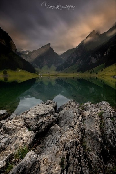 Cloudy and mysty mood in the swiss alps