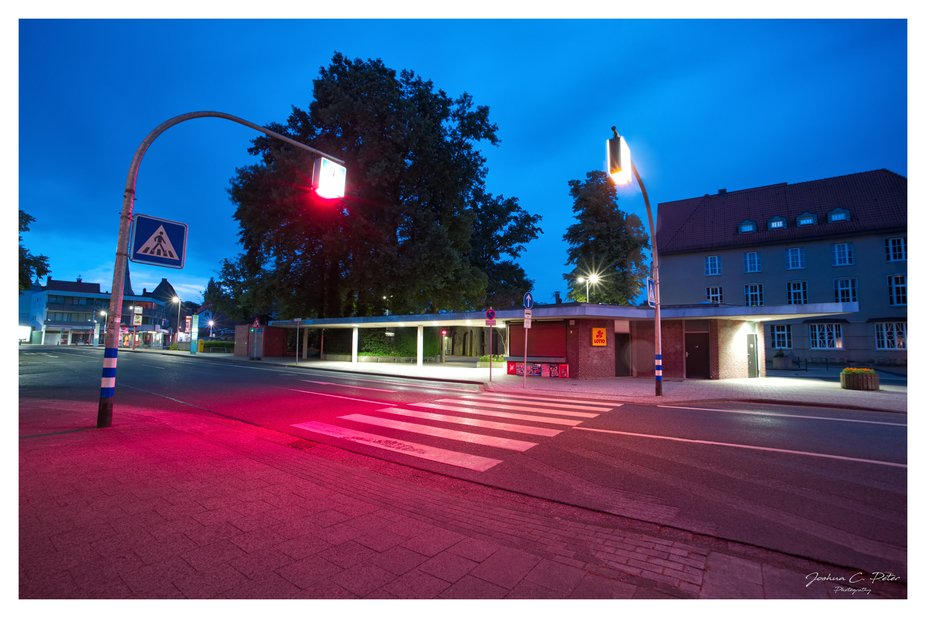 This Image was composed at the end Blue Hour when the Streets and Lights woke up again to show th...