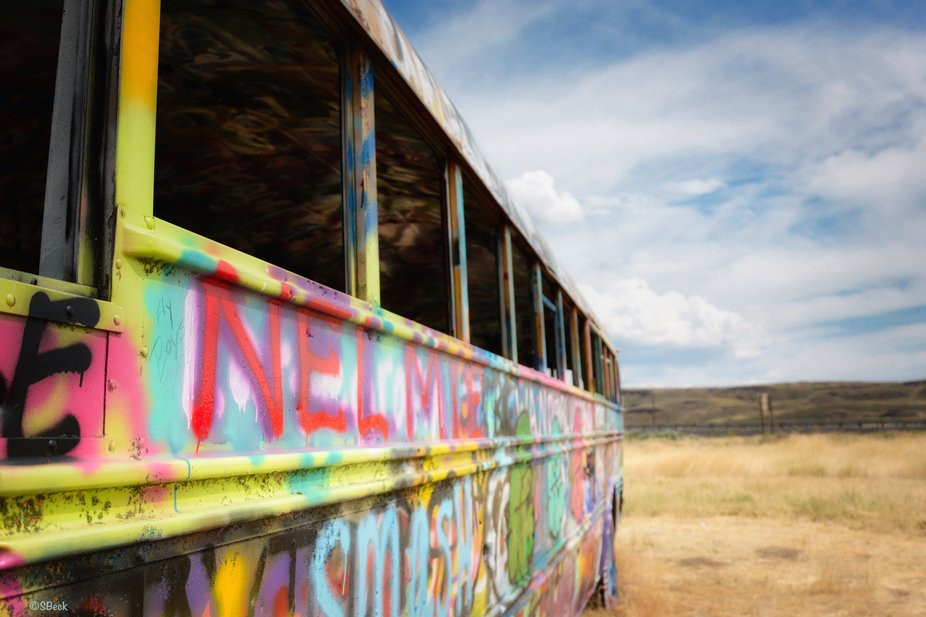 Out in the middle of the Palouse sits this very colorful bus!!!!  Wild Ride!
