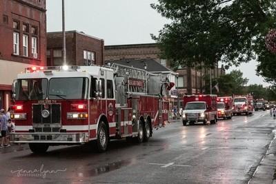 Firetrucks in the Rain
