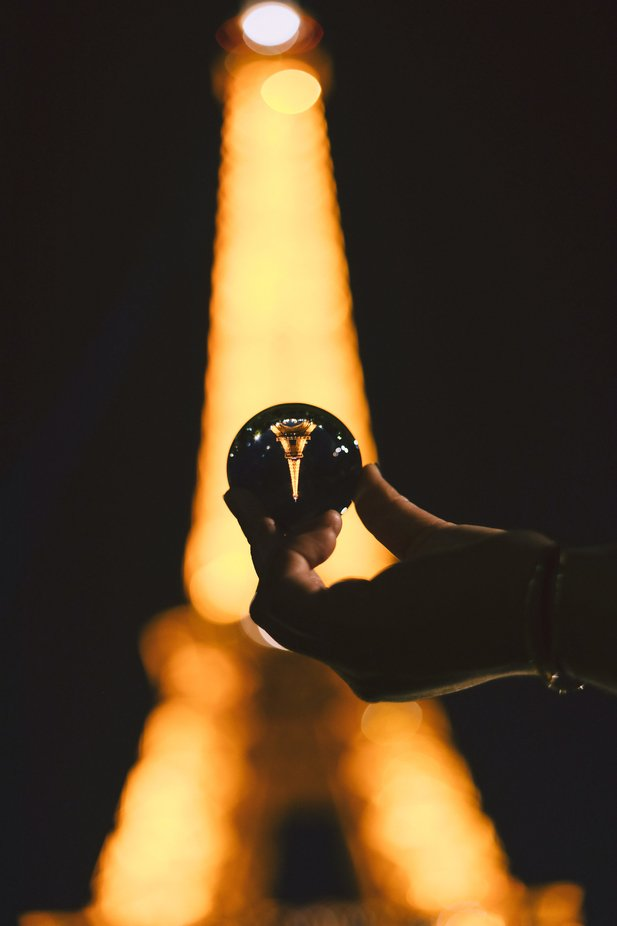 Glass Orb Reflection of Eiffel Tower