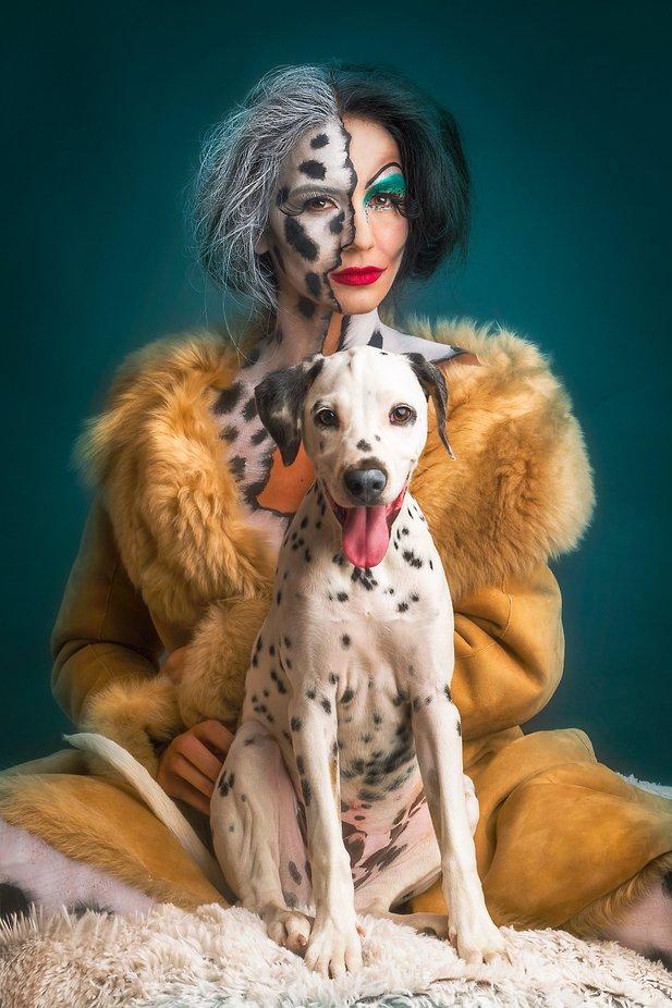 Cruella de Vil and Pongo by lvalics - Fantasy In Color Photo Contest