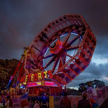 A fairground near Telford one windy, stormy and sunny July evening.