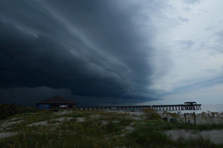Shelf Clouds rolling in over Tybee Beach, Georgia.