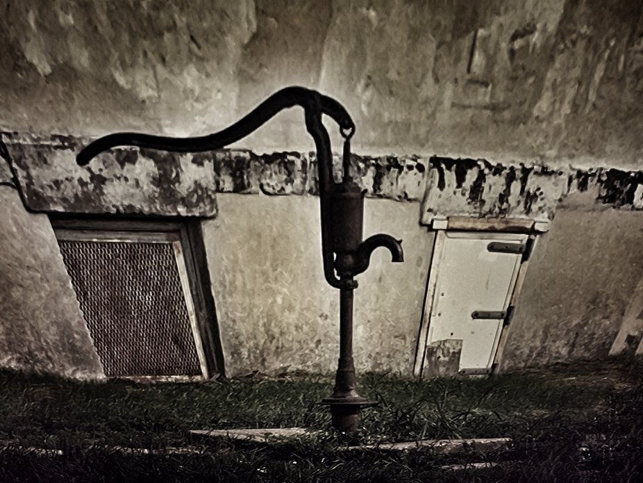 This is a water spout at an old Amish school house built in 1909
