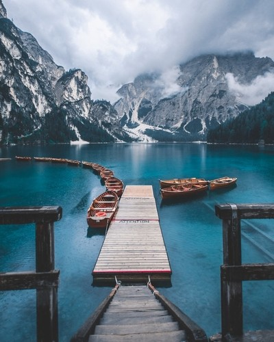 Lago Di Braies under a moody weather.