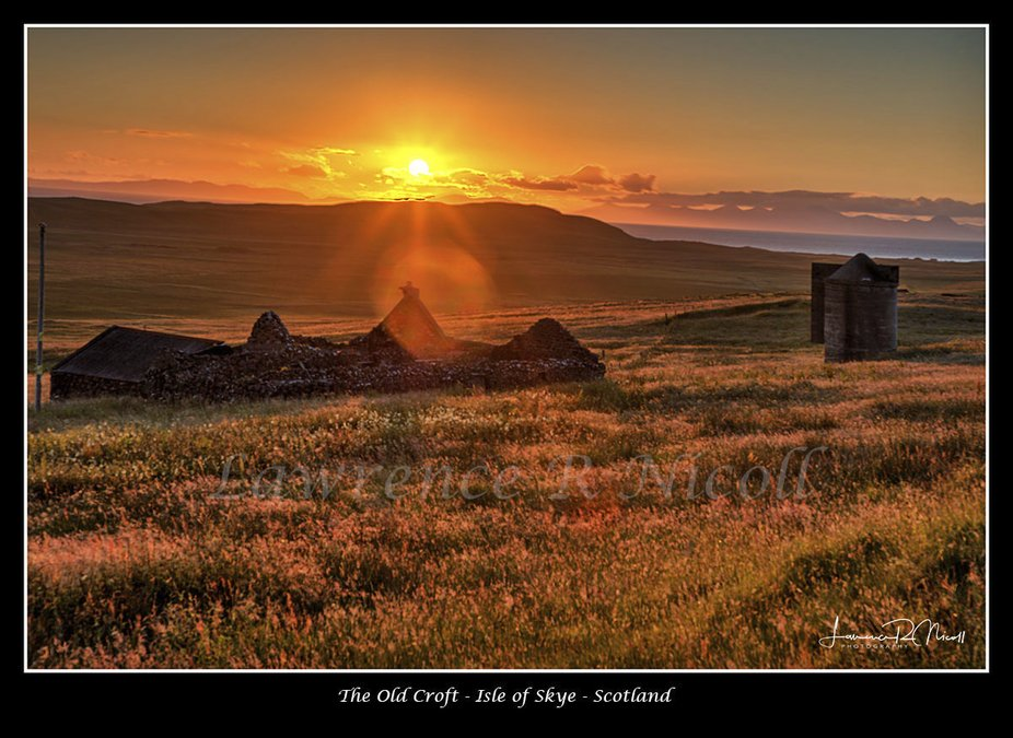 Driving the Isle of Skye, Scotland, I saw this derelict building and later saw the sun setting up...