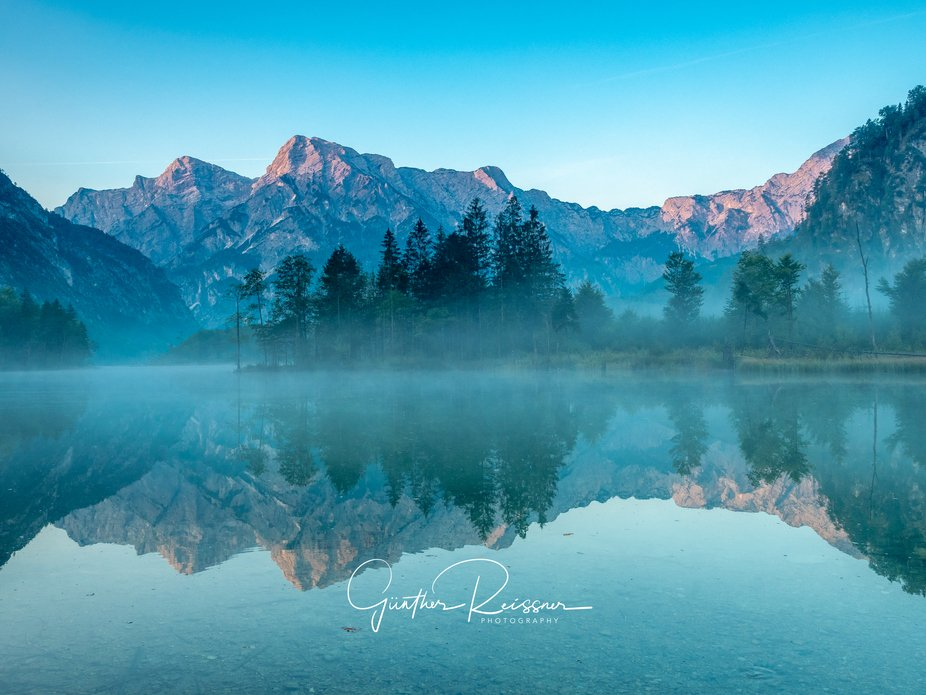 Sunrise at the beautiful Almsee in Upper Austria.