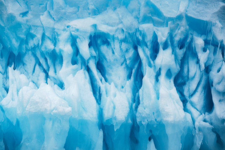 The innards of an upside down iceberg in the north of Svalbard. On the day this photo was taken, ...