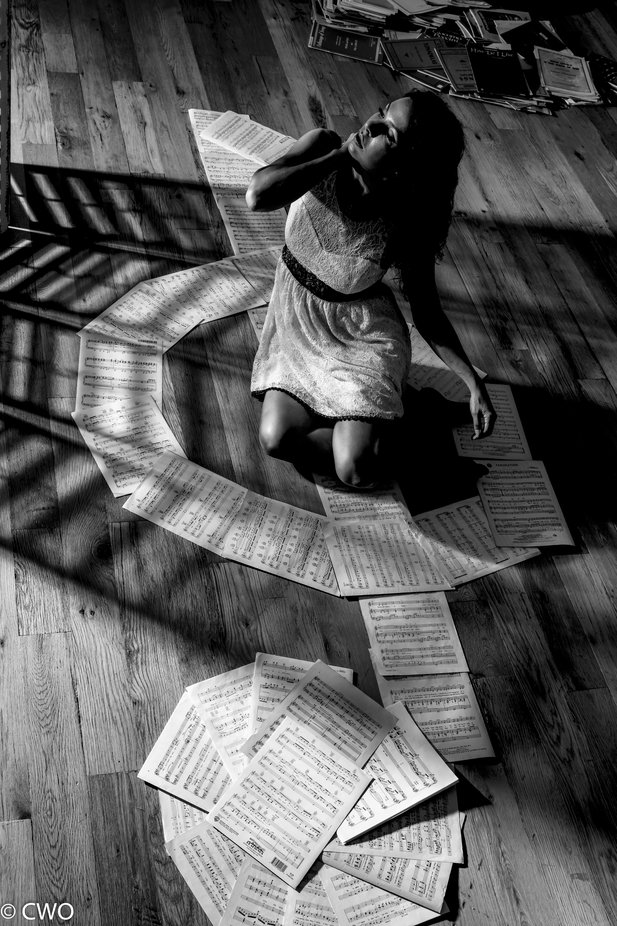 Heather Nicole in her Music... B & W by charterswilliamosborne - Our World In Black And White Photo Contest