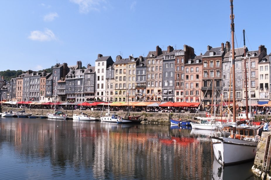 The gorgeous port of Honfleur in Normandy, captured on a bright and beautiful August Monday