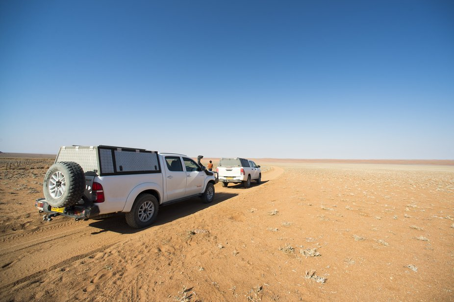 Crossing quiet a long part of the Namib desert, in the center/west of Namibia. Me and a part of m...