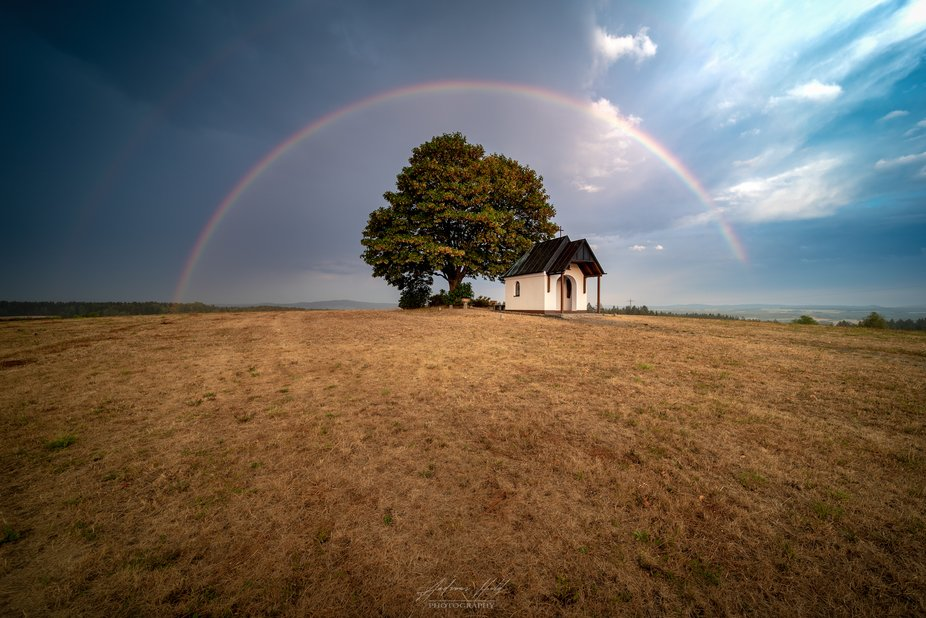 The little chapel under the rainbow. Photographed in Upper Palatinate / Bavaria.