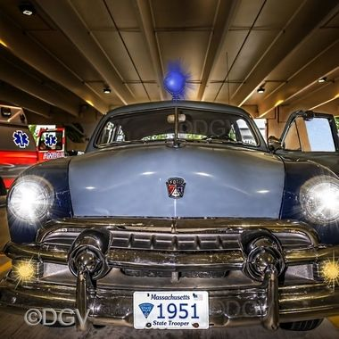 1951 Ford Massachusetts state police vehicle at safety night