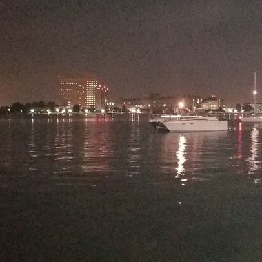 Looking across the water at night.