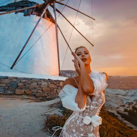 Campaign shot for Wedding Collection 2019 at Mykonos Widmills of Kato Mili. The windmills are from XVI century still standing tall today