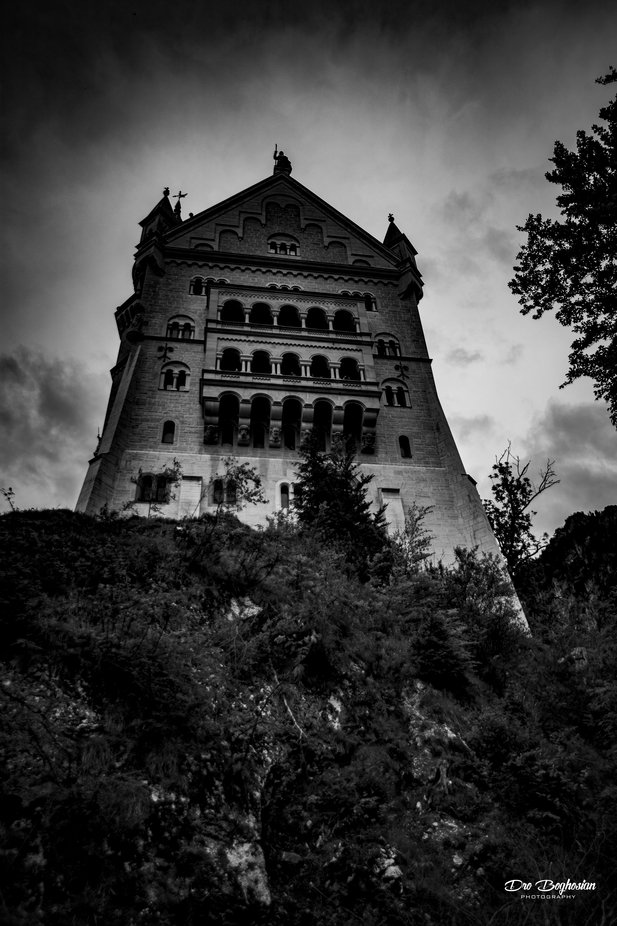 My spooky shot of Neuschwanstein Castle in Bavaria, Germany. Taken in 2017