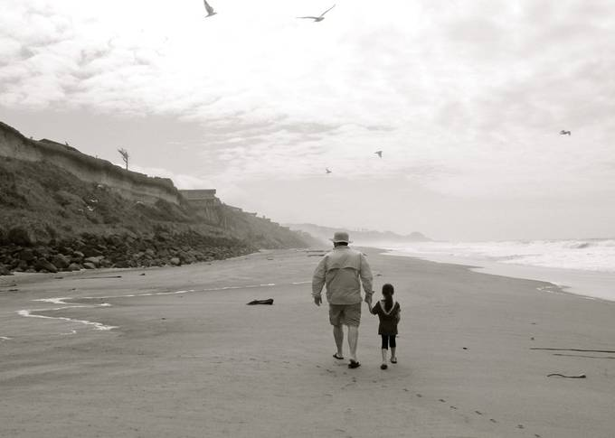 A niece that rarely gets to see her uncle, so on trips when he happens to be there, she request a hand holding walk every day that he is there.