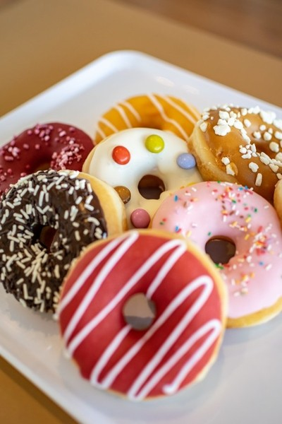 fruity doughnuts on a tray